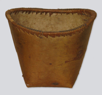 A smooth dark brown birch bark container, cedar strips woven around the rim incorporating dark brown fibres, likely horse hairs.