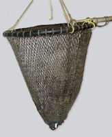 A fishing dip net woven from rough gray nylon wrapped around a steel hoop at the end of a long wooden pole.