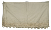 A white cotton altar cloth, originally a petticoat hem, extensively worked with fine satin stitch embroidery and cutwork along the edges.