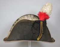 Side view of black bicorn hat with tall red and white feather plume and fur lining, owned by Sir Isaac Brock.