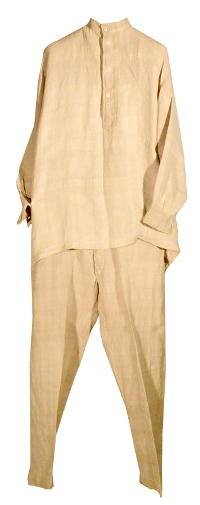 Traditional Doukhobor pale linen men's suit with white buttons originally owned by Alex Nemanishen.