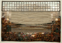 Mixed media artwork called 'Bronze Landscape' with dark browns and creamy whites that combine to mimic a barren landscape, made of textiles and stained glass.