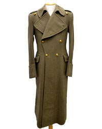 Heavy green wool WWII greatcoat with brass buttons, curiously without of rank insignia, medals, or even a manufacturer tag.