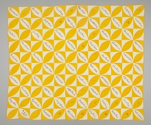 Alternating yellow and white squares containing pointed ovals of the opposing colour. The white ovals contain hand sewn signatures in red thread.