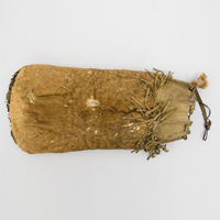 A bag made from fetal or calf moose skin, sewn with sinew, and lined with cotton fabric to carry dry meat to eat while travelling.