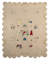 A large cotton quilt with a variety of colourful appliquéd and embroidered scenes of small town life in Myrtle, Manitoba.