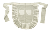 A small cotton apron made in school as a demonstration of fundamental sewing skills with two small patch pockets and ties to attach it at the waist.