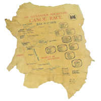 Map drawn with red and black felt markers on tanned moose hide for a 1970 canoe race down for the Northwest Territories centennial.