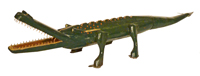 Wooden painted green alligator carving by prairie artist Harold Coombs.