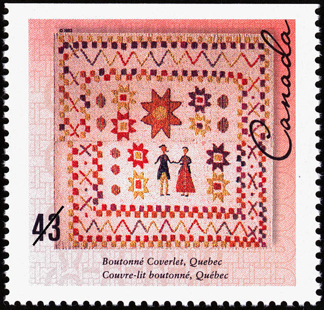 Canadian stamp featuring a couvre boutonné with a man and woman surrounded by stars and a geometric border.