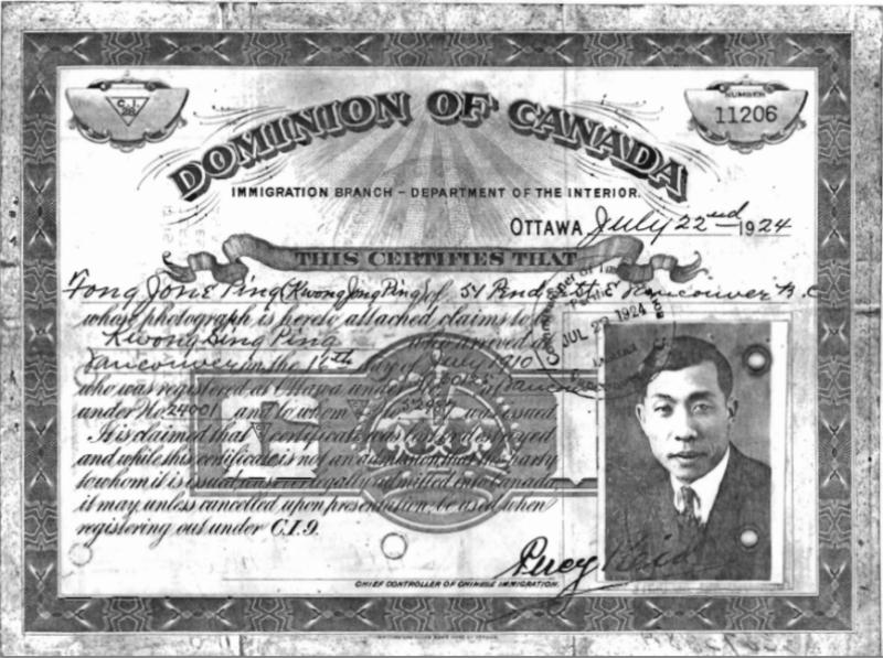 Stamped Immigration certificate for Kwong Jong Ping with a posed portrait of Ping in a suit.