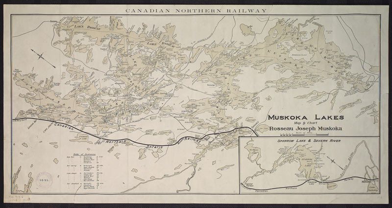A Canadian Northern Railway map of Muskoka Lakes and the railway line, 1899.
