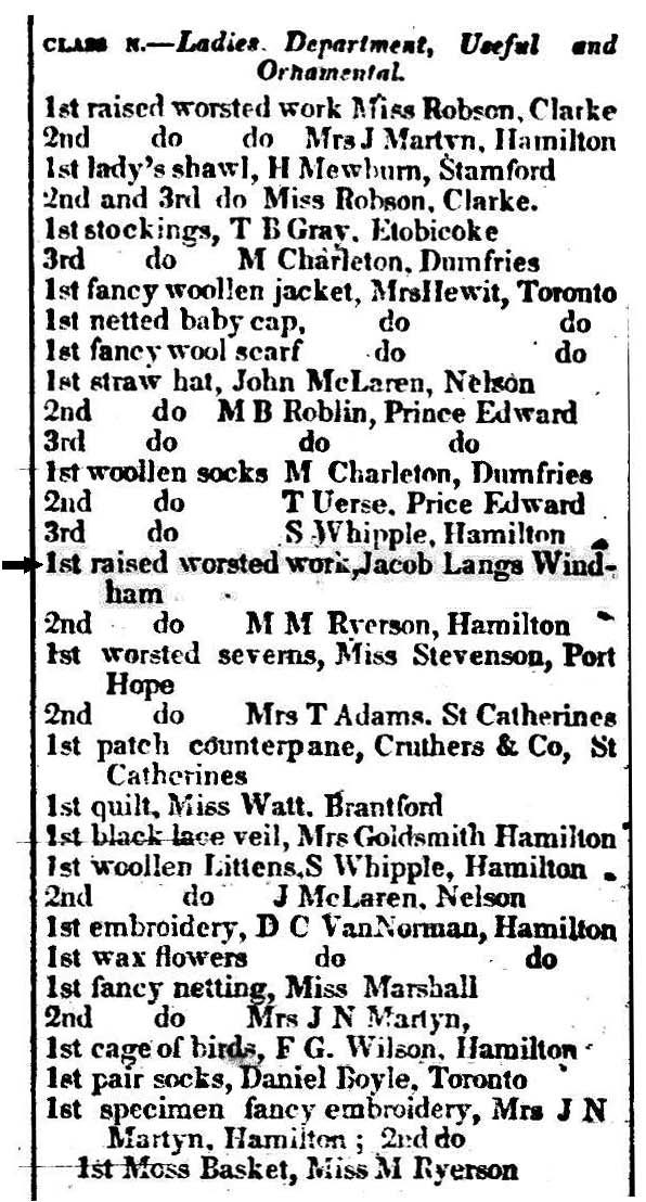 A newspaper clipping from 1847 providing a list of winners at the Hamilton Provincial Agricultural Fair, 1847.