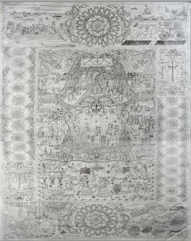 Extremely detailed pencil drawing of the artwork that would eventually become the textile wall hanging.