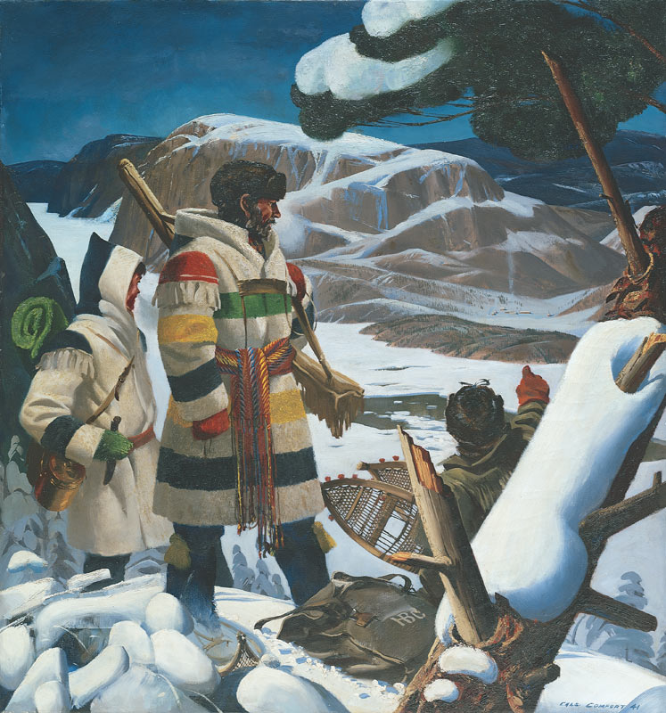 Painting by Charles Fraser Comfort of fur trading party wearing modified blanket coats in the northern wild, 1941.