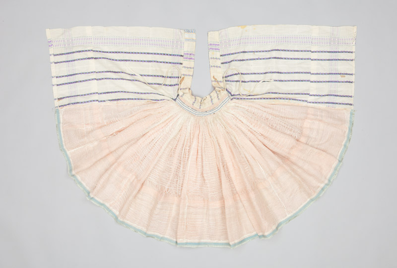 Rear view of a lace collar created as part of a traditional Slovakian girls outfit, dating back to the 1930s when it was sent to Canada.