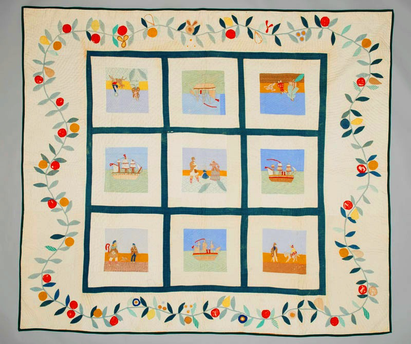 A white nine squared quilt with colourful appliqued and embroidered depictions of scenes from the Mackay family's sea journey from Cromarty in Scotland to Quebec City in 1830.