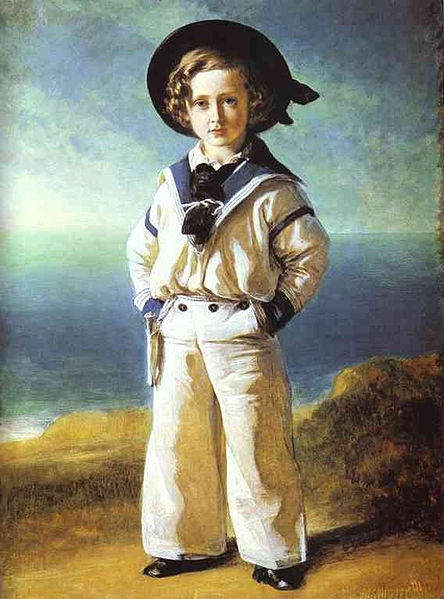 A painting of a young boy standing on a sunny beach wearing a crisp white and blue trimmed sailor's outfit, by Franz Xaver Winterhalter, 1846.
