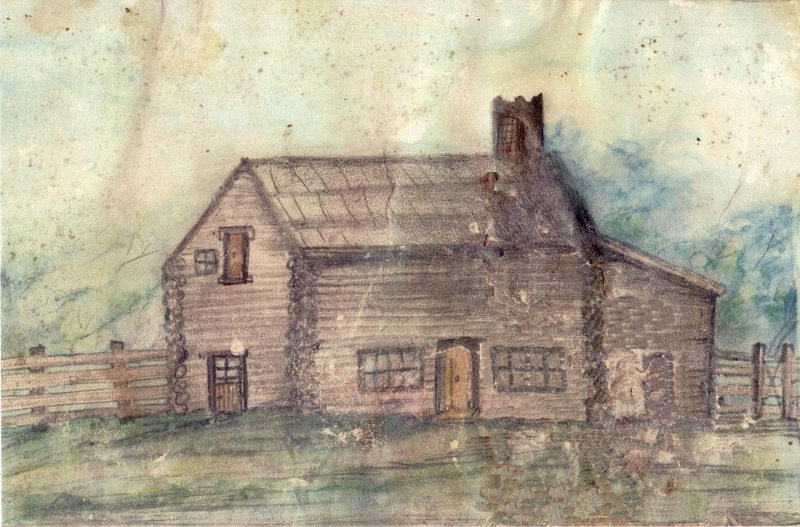 Coloured sketch of the small log-built home of William and Fanny Riley, circa 1816.
