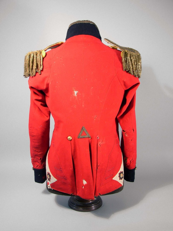 Rear view the scarlet military coat of Aeneas Shaw, a prominent Loyalist who fought in both the American Revolution and War of 1812.