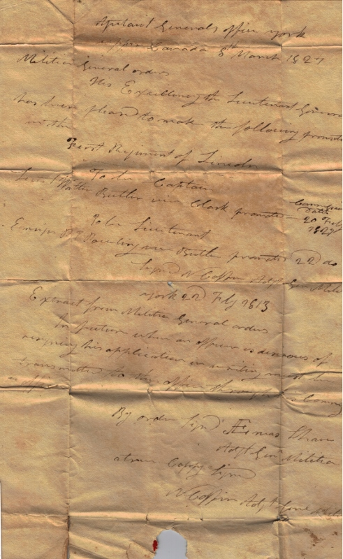 Written military orders on aged brown paper from Aeneas Shaw, dated September 17, 1813.