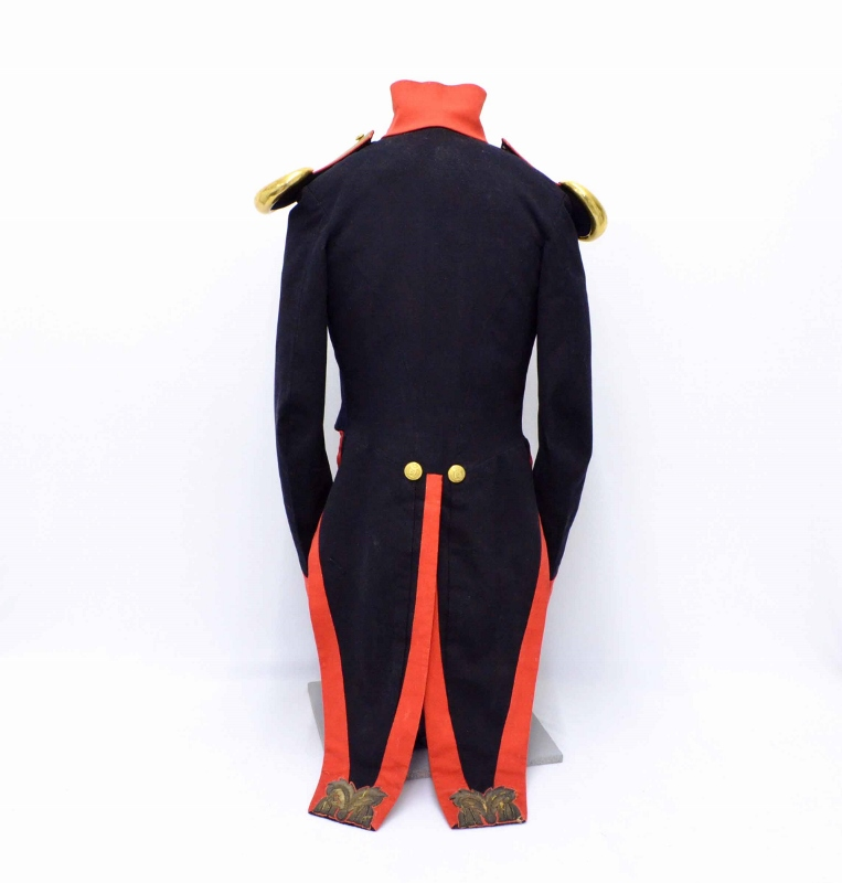 Rear view of dark navy uniform showing red trimmed tails and golden epaulets, originally worn by William Duff in the 1830s.