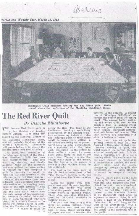 A 1952 newspaper clipping describing the making of the Winnipeg quilt. A photo of female guild members around a table is shown.