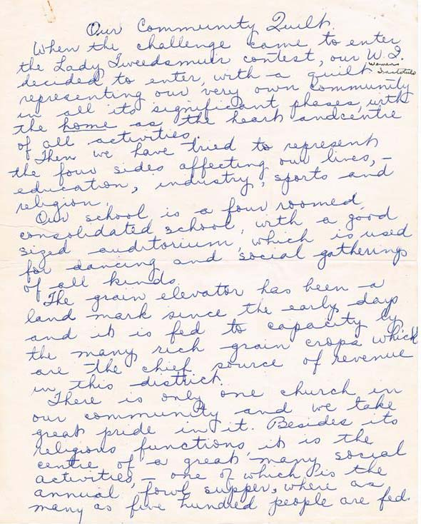 First of three handwritten pages in blue ink on white paper, describing the creation of the quilt and its symbolism.