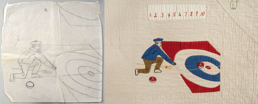 Comparison of the original drawn quilt pattern, and the final square depicting a man participating in a curling match.