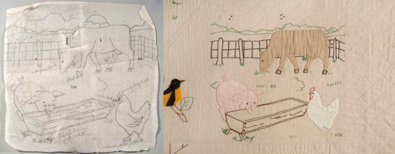 Comparison of the original drawn quilt pattern, and the final square depicting livestock feeding on a farm.