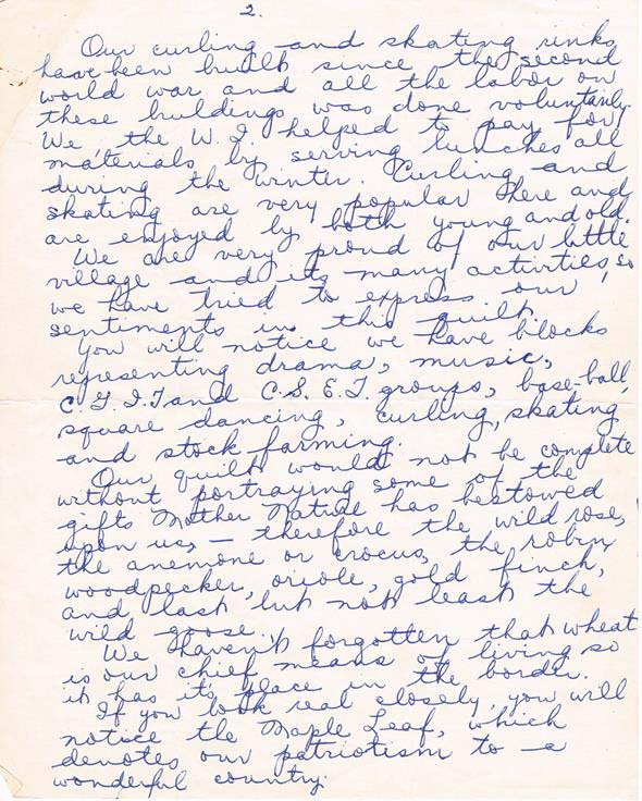 Second of three handwritten pages in blue ink on white paper, describing the creation of the quilt and its symbolism.