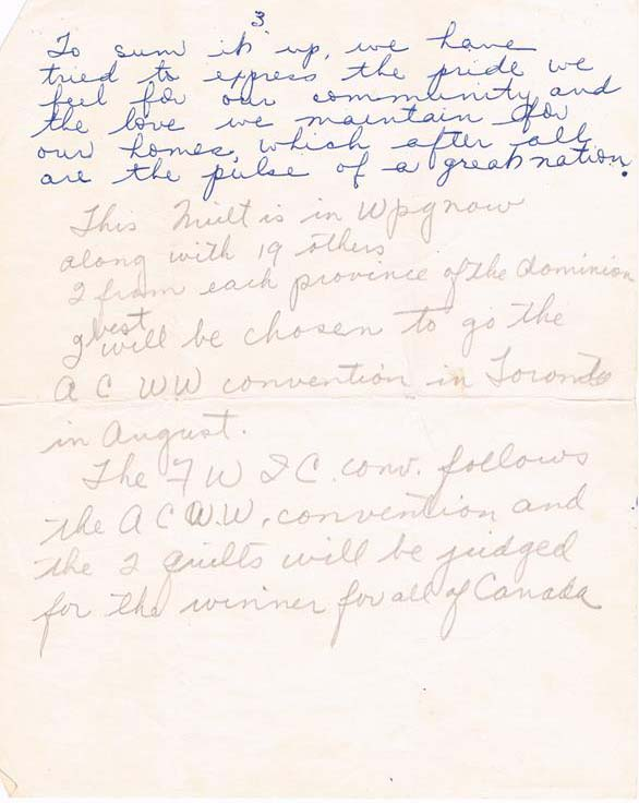 Third of three handwritten pages in blue ink on white paper, describing the creation of the quilt and its symbolism.