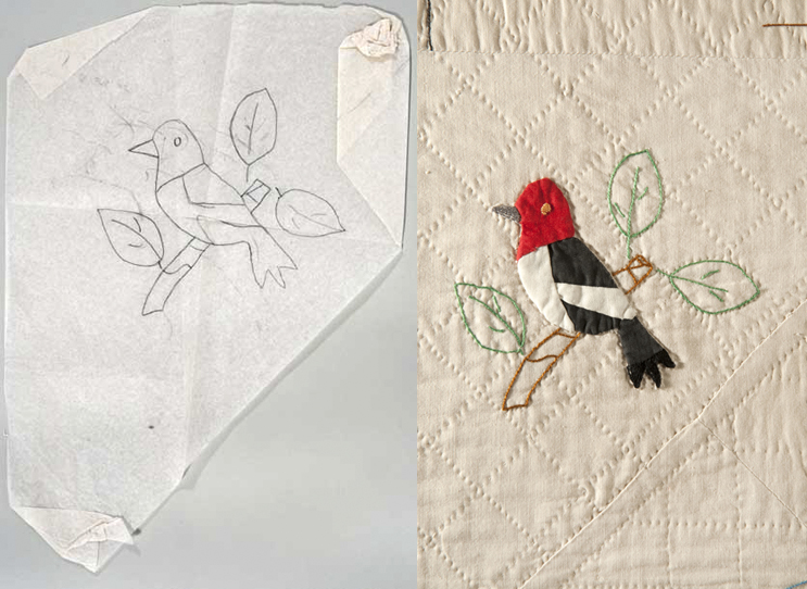 Comparison of the original drawn quilt pattern, and the final square depicting a red headed bird on a branch.