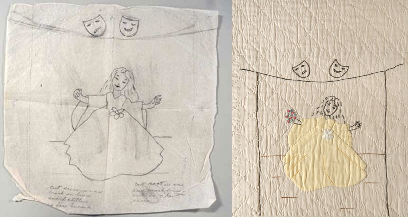 Comparison of the original drawn quilt pattern, and the final square depicting a dancing girl in yellow dress.