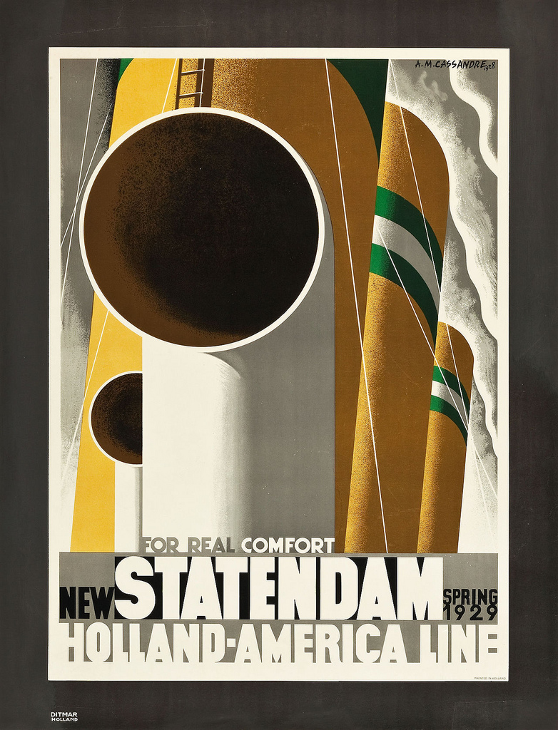 A stylized poster for the Holland-America Line, 1929. Vivid green and yellow smoke stacks contrast against a grey sky.