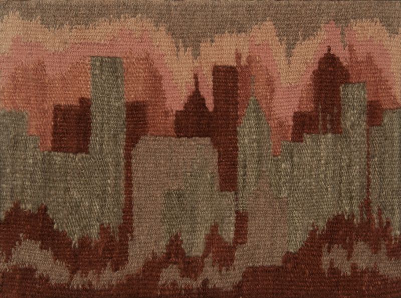A handwoven artwork depicting the skyline of downtown Winnipeg predominantly in pink, red, and purple tones, created using rare lichen dye.