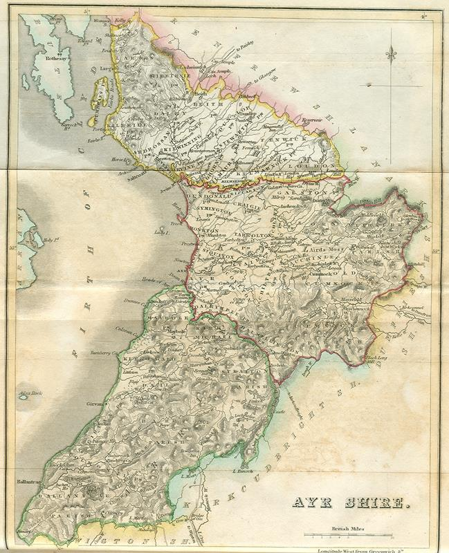 A historical map indicating the Ayrshire area on the west coast of Scotland, circa 1845.