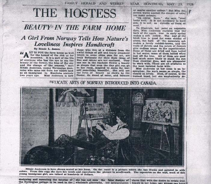 1928 newspaper clipping titled The Hostess with a photos of Mitzi Anderson loom weaving in traditional Norwegian dress in front of her many creations.