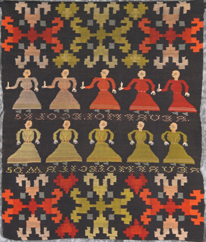 Woven tapestry in a traditional Scandinavian style with two rows of colourful female figures representing a Biblical passage.