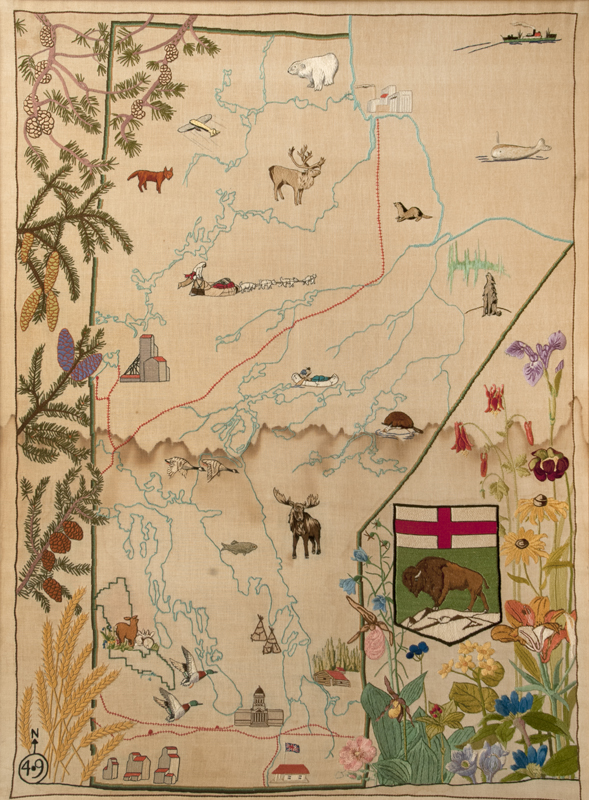 Woven linen map of Manitoba depicting a range of symbols, from the province's distinctive wildlife and plants to important political centers.