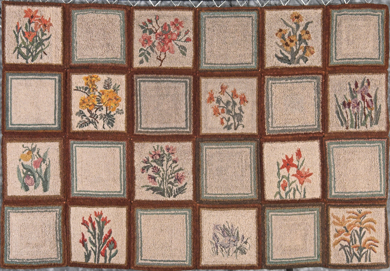 A rug composed of 24 squares, 12 showing Manitoban wildflowers of various shapes and colours, made by the Crafts Guild of Manitoba circa 1940s.