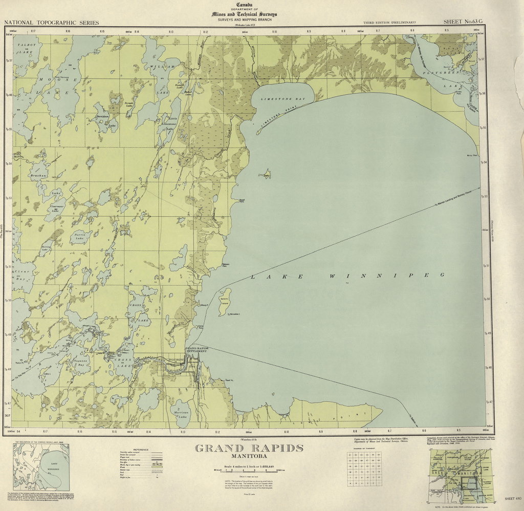 Map indicating the location of Grand Rapids at the northwest edge of Lake Winnipeg, along the Keenora route.
