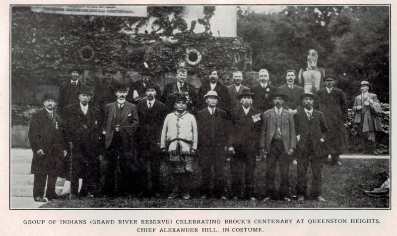 Posed photo of the Six Nations assembly at the 1912 Centenary of the death of Isaac Brock in Niagara.