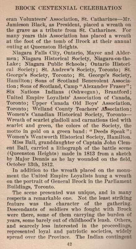A printed excerpt from the book 'Brock Centenary 1812–1913' mentioning the wreath.