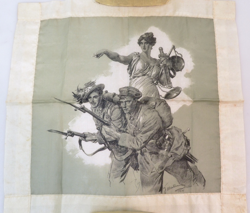 An illustrated souvenir handkerchief depicting an embodiment of 'Lady Justice,' encouraging Italian soldiers to charge.
