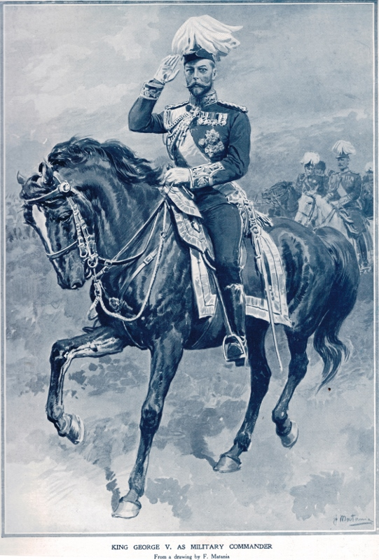 A sketch by artist Fortunino Matania of King George V as a commander on horseback, 1913.