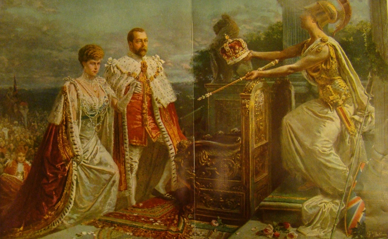 A painting depicting the coronation King George V by artist Fortunino Matania, 1913.