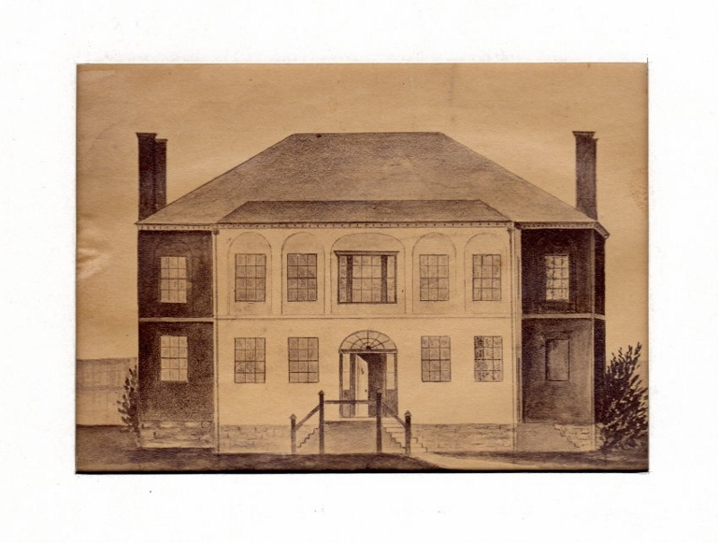 Technical drawing of the Niagara Court House and Gaol, built in 1817.