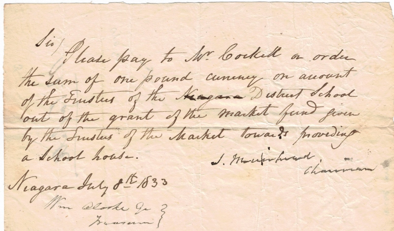 Handwritten letter by James Muirhead dated July 8, 1833 supporting the construction of a local schoolhouse.