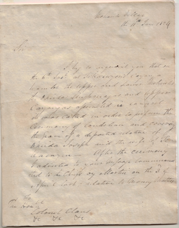 Handwritten letter on white paper from Joseph Brant to Daniel William Claus regarding financial matters.